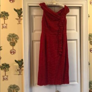 Red silk layered dress